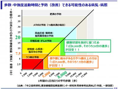 健康づくりにおける歩行の量と質の目安(東京都健康長寿医療センター研究所)