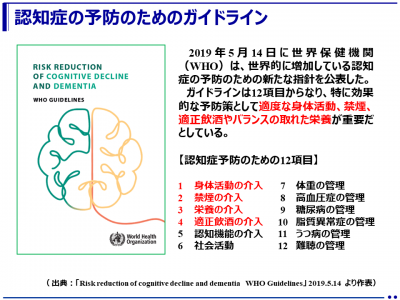 初の認知症予防のためのガイドラインを発表(WHO)