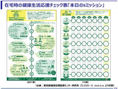 「在宅時の高齢者の健康づくりを応援する生活習慣チェック表」を公開(東京都健康長寿医療センター)