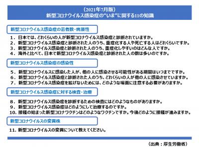 """「新型コロナウイルス感染症の""""いま""""に関する11の知識(2021年7月版)」(厚生労働省)"""